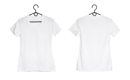 white woman t-shirt on hanger isolated on a white background, front and back view