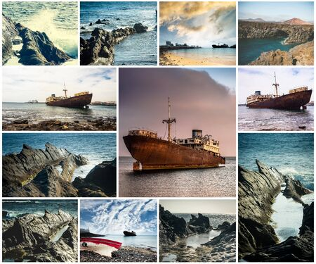 abandoned: collage of rocky coast and abandoned ships in Lanzarote, Canary islands, Spain