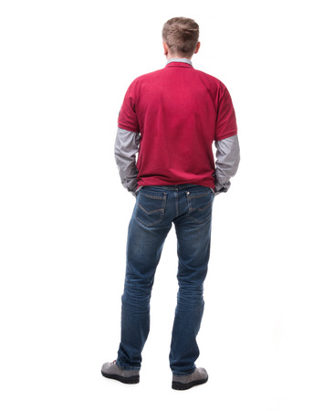 back view: back view of a casual style man isolated on white background