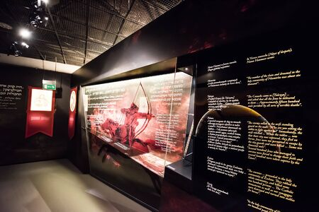 jewish culture: Warsaw, Poland - March 08, 2015: Interior Museum of the History of Polish Jews, built in years 2009-2013, documents the millennial tradition of Jews in Poland in Warsaw Editorial
