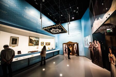 jews: Warsaw, Poland - March 08, 2015: Interior Museum of the History of Polish Jews, built in years 2009-2013, documents the millennial tradition of Jews in Poland in Warsaw Editorial