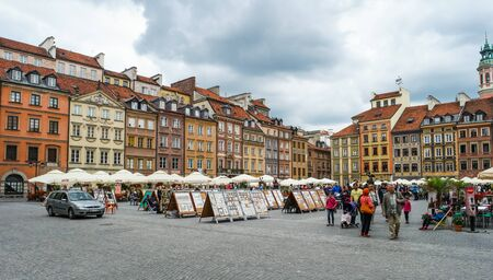 warszawa: Warsaw, Poland - 8 March 2015:  view on an old Market square of Warsaw in Poland