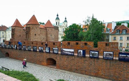 outpost: Warsaw, Poland - 8 March 2015:  fortified medieval outpost Barbakan in Warsaw in Poland Editorial