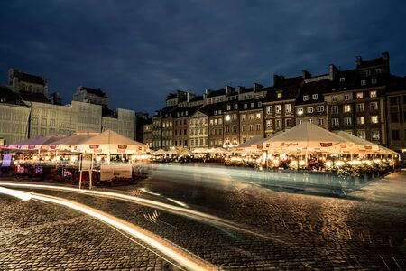 june 25: Warsaw, Poland - June 25, 2015: night view of the market square in Warsaw, Poland