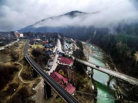 carpathian mountains: view of bridges over Prut in Yaremcha, Carpathian Mountains, Ukraine