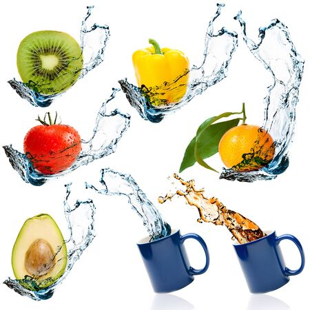 vegetables white background: Set of fruits and vegetables with water splash isolated on white background Stock Photo