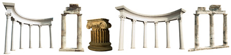 column: Collection of different ancient Greek columns isolated on a white background