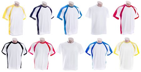 inserts: Collection of different White T-shirt with colored inserts on mannequinsi isolated on white background