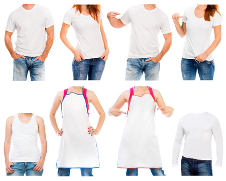 white t shirt: Collection of different white t shirt and apron  on a young man and woman isolated on white background Stock Photo