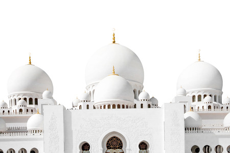 view of Sheikh Zayed mosque in Abu Dhabi isolated on a white background