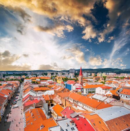 elisabeth: picturesque view on roofs in Kosice from St. Elisabeth cathedral Stock Photo