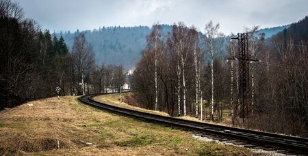 wood railroad: beautiful landscape with railroad and wood in Carpathian mountains, Ukraine Stock Photo