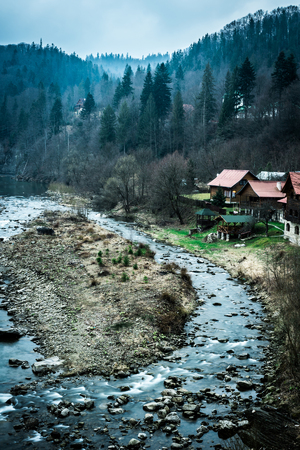 beautiful river with houses and forest on bank in Carpathian mountains, Ukraine