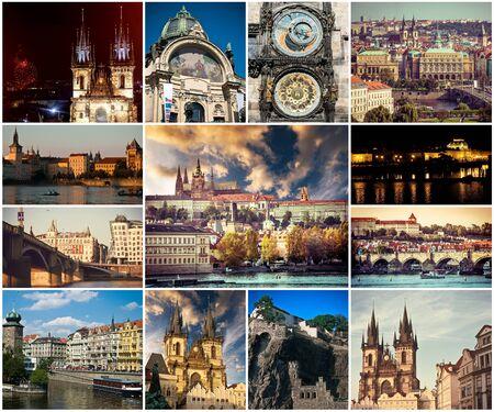 Collage aus verschiedenen malerischen Prager Sehenswürdigkeiten und Landschaften mit Architektur Standard-Bild