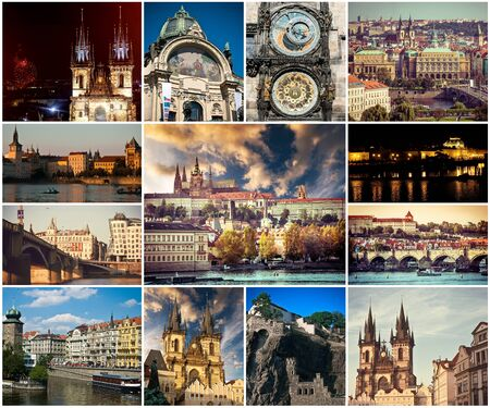 collage of different picturesque Prague sights and landscapes with architecture Stock Photo