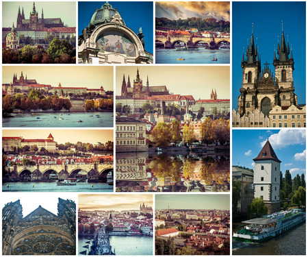 czech: collage of beautiful Prague sights and architecture, Czech Republic Stock Photo