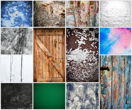 blue wall: collage of different textural backgrounds
