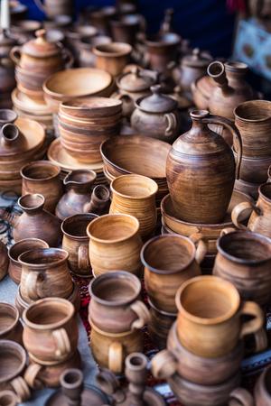 wooden handmade: different wooden handmade kitchenware on market stall