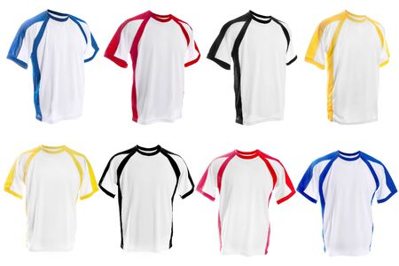 inserts: Collection of different White T-shirt with color inserts isolated on white background Stock Photo