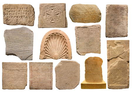 greek alphabet: Collection of different stones with inscriptions on white background