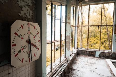abandoned city: gym in abandoned Pripyat school, Chernobyl, Ukraine