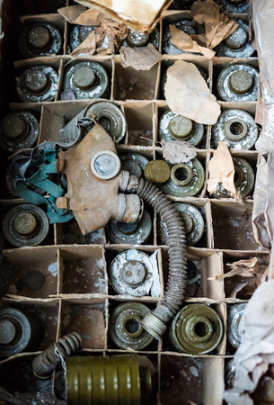abandoned room: abandoned school room with masks in box on the floor in Pripyat, Chernobyl, Ukraine