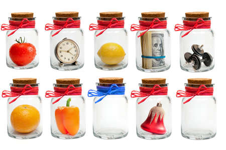 lids: Collection of different glass jars with lids and colored twine isolated on white background