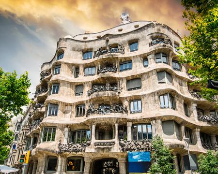 beautiful view on la pedrera building in Barcelona, Spain