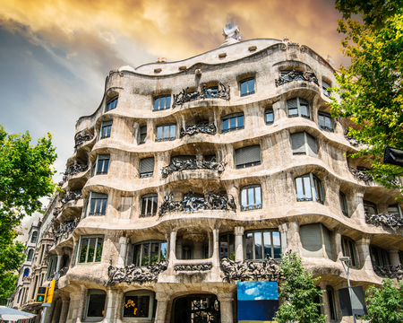 beautiful view on la pedrera building in Barcelona, Spain
