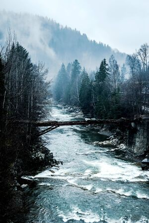locality: scenic landscape with river and abandoned bridge in Carpathian mountains, Ukraine