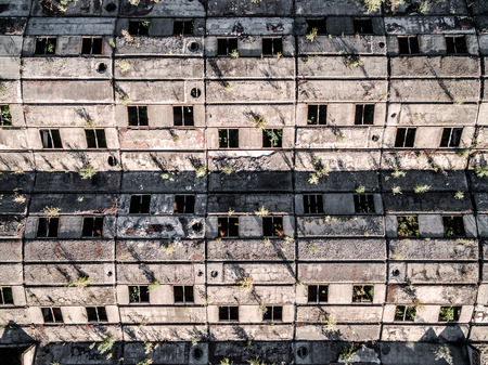 roof windows: large obsolete building roof with windows, earial photo, top view Stock Photo