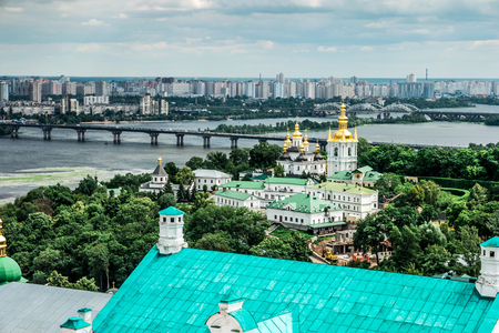 amazing view of Dnipro and Kyiv-Pechersk Lavra, Kyiv, Ukraine Stock Photo