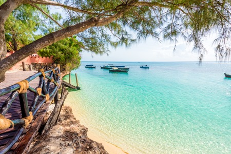 beautiful view from Turtles Island on clear blue ocean, Zanzibar Archivio Fotografico