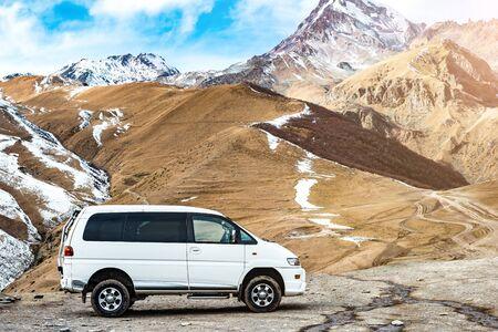 Trip to the Georgian mountain range on the minivan