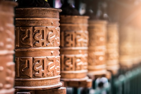 Closed up the prayer wheel at temple in Kathmandu, Nepal Stock Photo