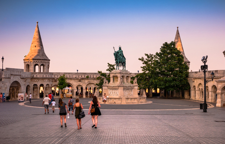 Budapest, Hungary - July 07, 2015: view on St. Stephen Statue at Fishermens Bastion square in Budapest