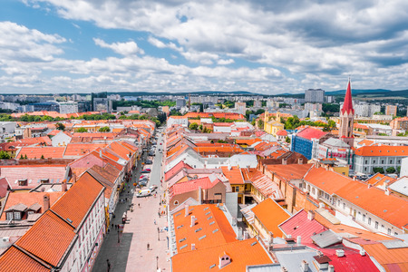 Kosice, Slovakia - July 10, 2015: picturesque view on roofs in Kosice from St. Elisabeth cathedral