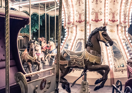 Kharkiv, Ukraine, August 01,2017: Old French carousel in a holiday Gorky Park in Kharkiv Editorial