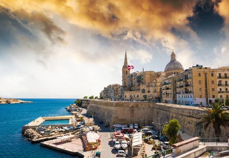 beautiful panoramic view on Valletta in Malta at sunset
