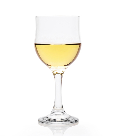 glass with white wine isolated on a white background