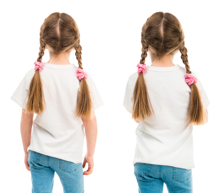 Little girl in a white T shirt showed in back side isolated on white background for your design