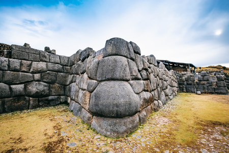 ancient huge defence stone wall in Sacsayhuaman