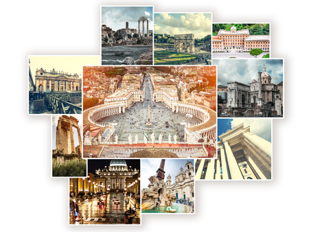 Collage of sights of Rome, Italy Banco de Imagens