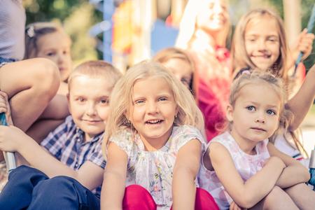 Smiling Little Kids sitting together