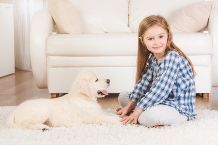 Smiling little girl sitting with fluffy retriever puppy at home Фото со стока