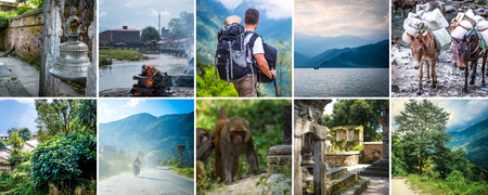 Collage of diffefent views of Nepal Stock Photo