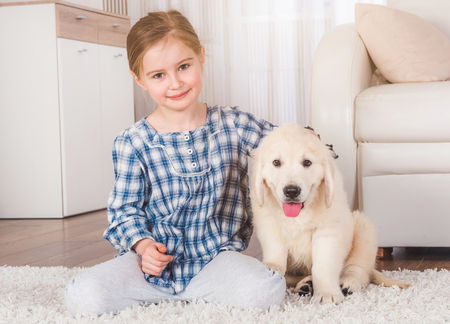 Smiling little girl sitting with cute fluffy retriever puppy at home Фото со стока