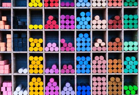 Sets of red and blue shaded markers at stationery store