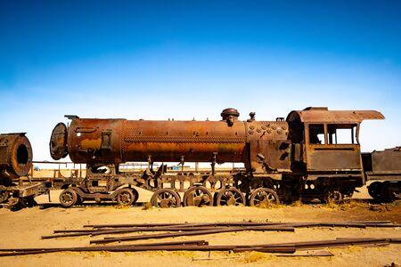 Old rusty steam locomotives near Uyuni in Bolivia. Cemetery trains.