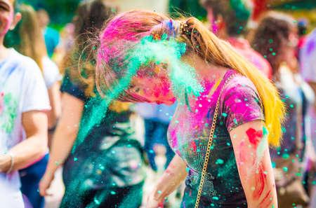 Khakiv, Ukraine - 19 May 2018: Holi color fest celebrating in Park Editorial